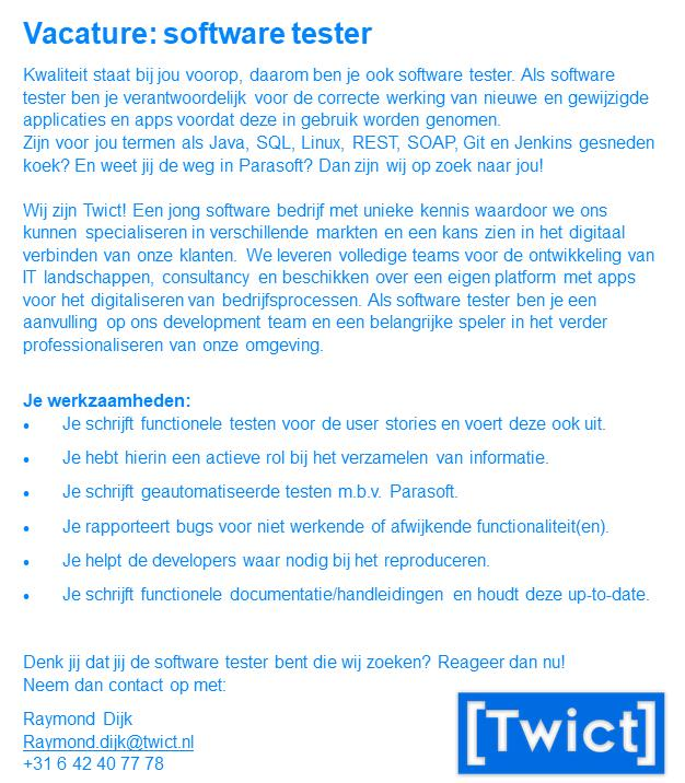 Twict Vacature Software Tester
